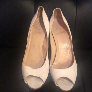 White Christian Louboutin Peep Toe Heels